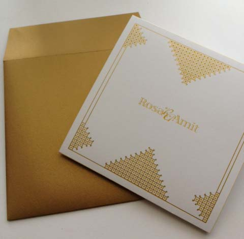 Wedding Invitation - Gold Lattice