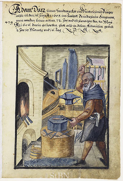 Woodcut of a Nacho Artisan at work.