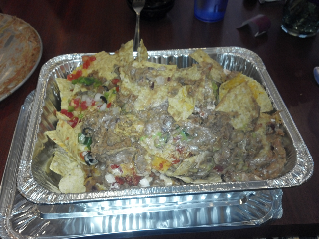 That's right, even after 45 solid minutes of eating, it still filled a whole catering tray.