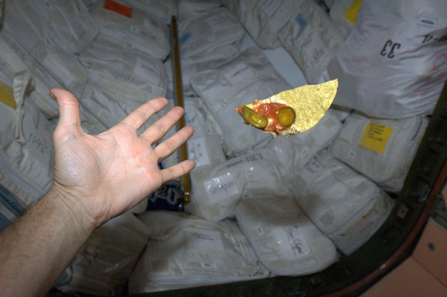 """""""Variety is the Spice - corn chip, salsa, mushroom pate and jalapeno, floating weightless."""" - Commander Chris Hadfield"""