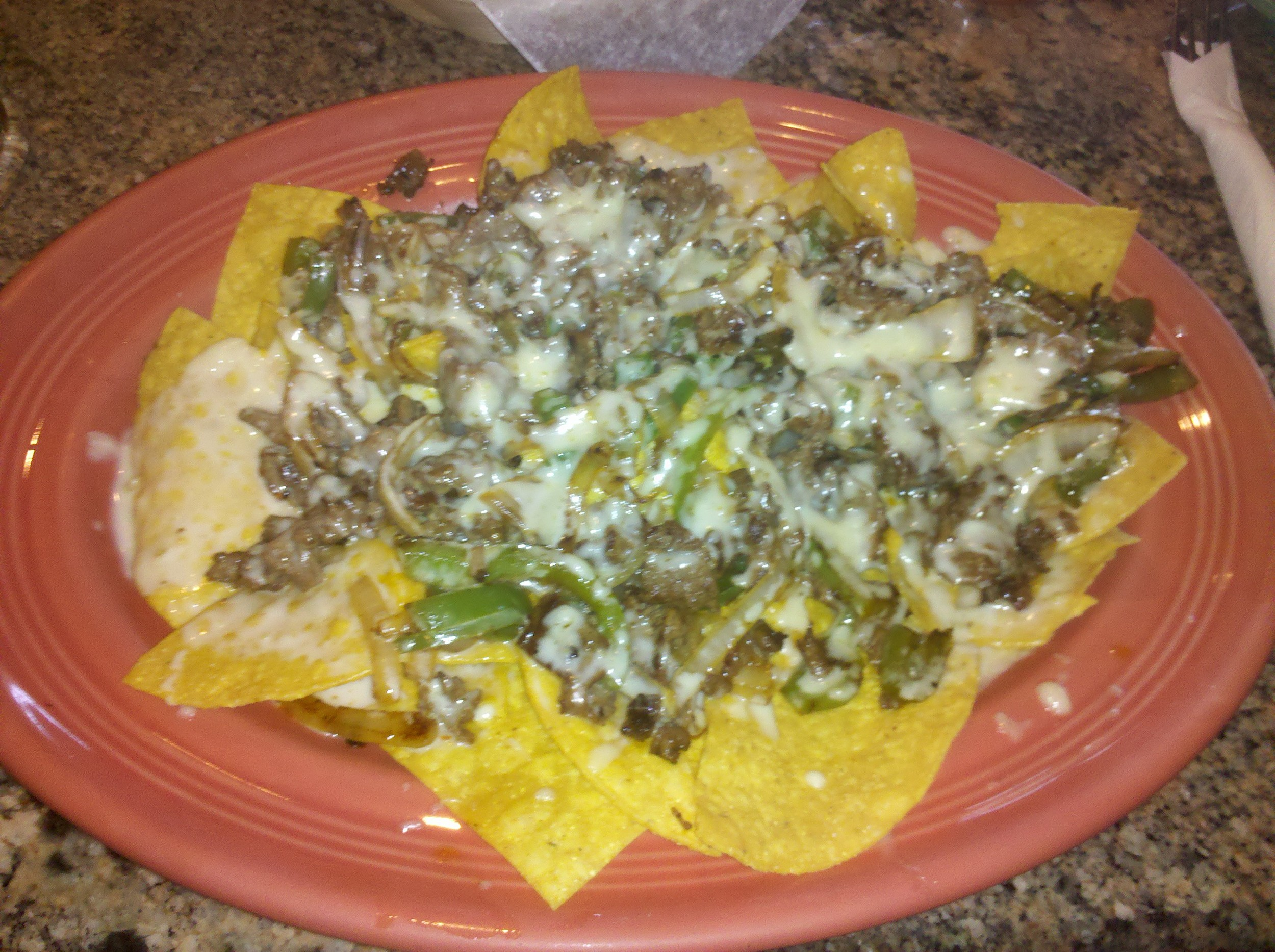 Steak, Cheese, Green Peppers, Onions.