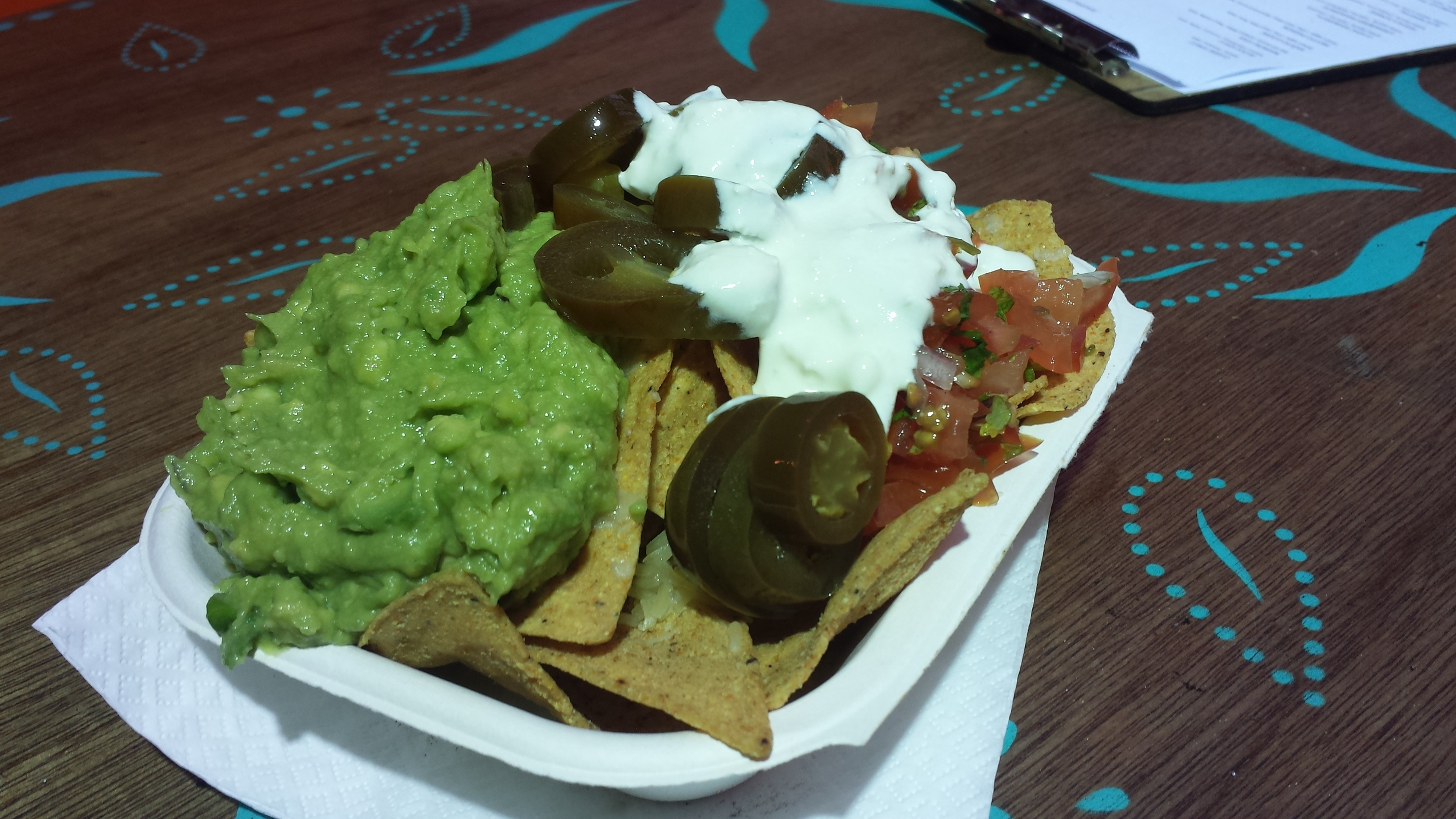 Guacamole, Pickled Jalapenos, Sour Cream, Salsa, Spicy Tortilla Chips.