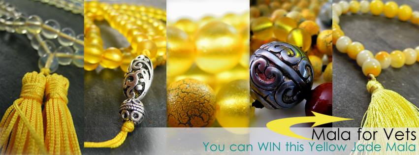 """Win this Yellow Jade wrist mala by leaving a comment on our blog titled: """"The Best You Give-Away."""" Click this image to enter!"""