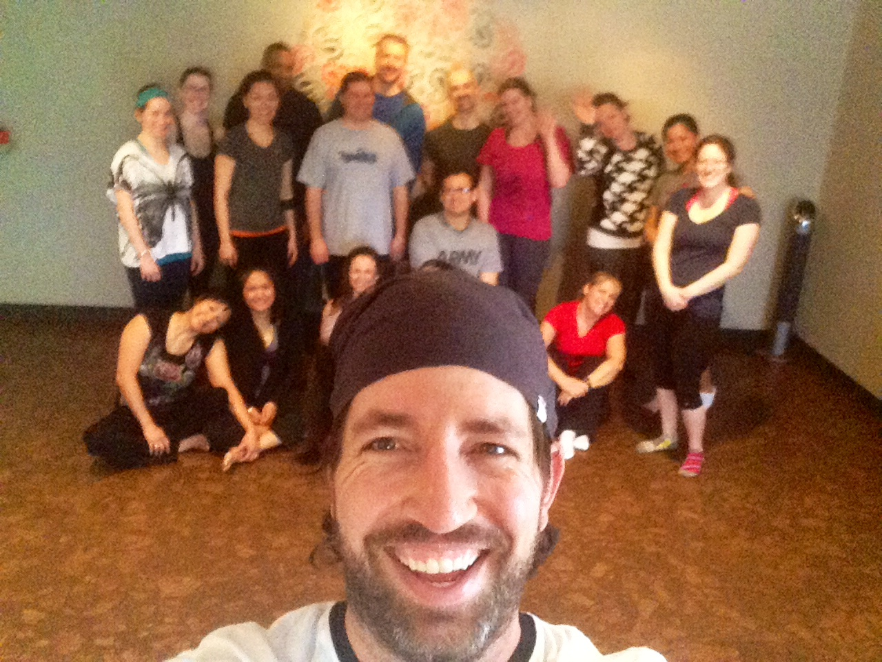 Post yoga for Vets picture of the group.  Art Boorman  led this special class.