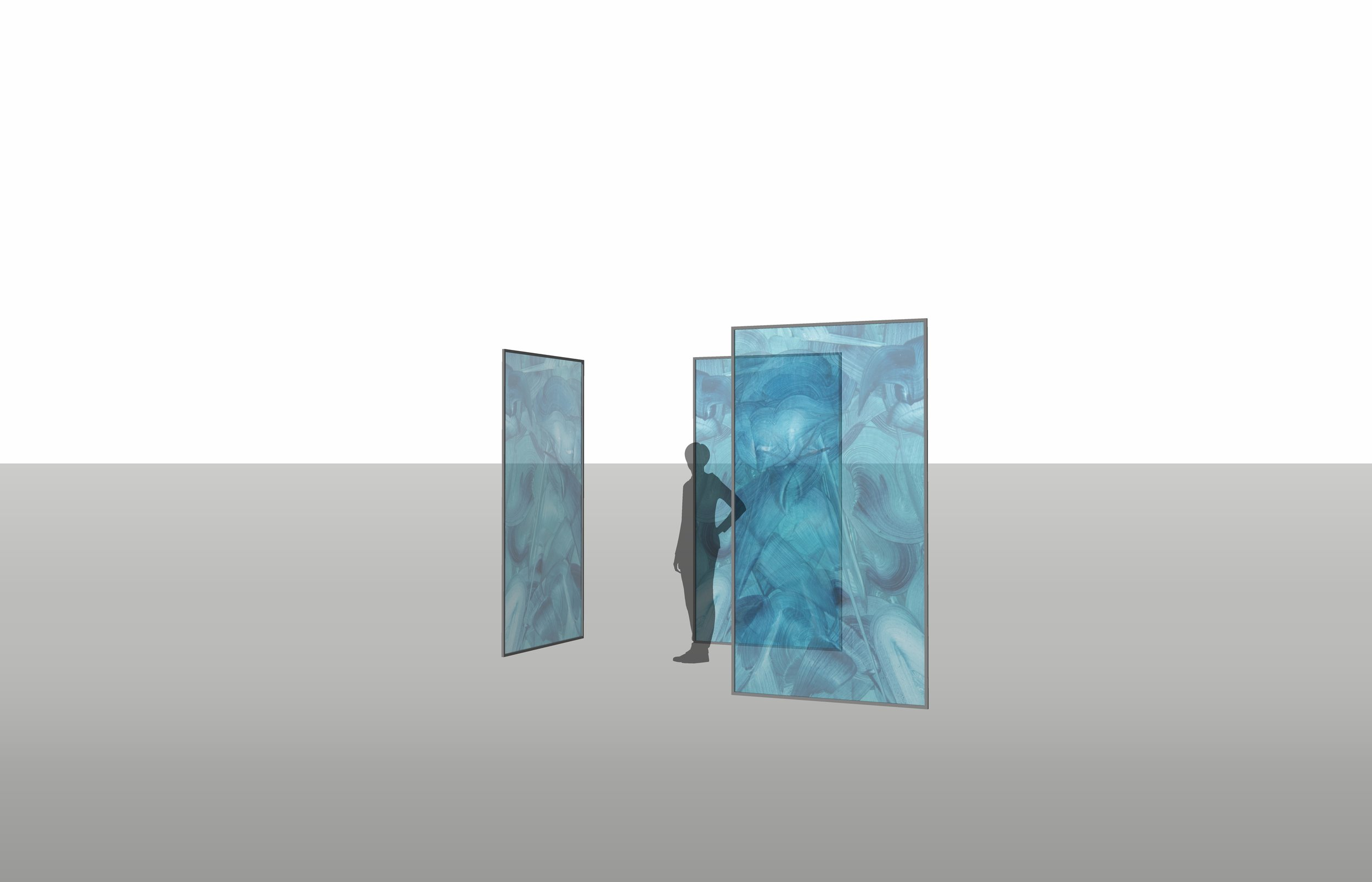 Translucent rear projection screens, free standing in gallery space, viewable from all sides.