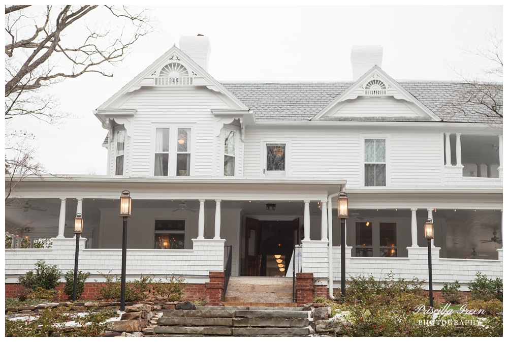 When you first walk in you are greeted by stairs that lead to the front door and grand surround white porch.