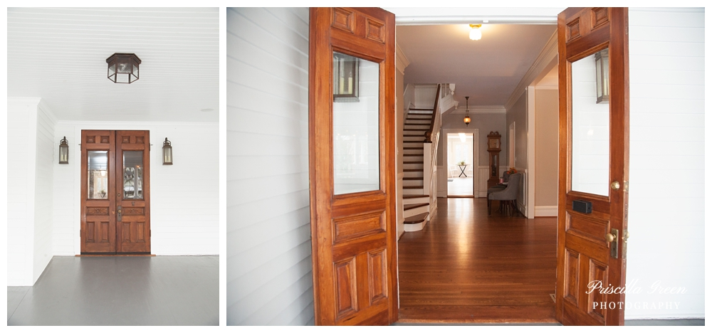when you first walk in through the doors you see the stairs and to the left and right are rooms.
