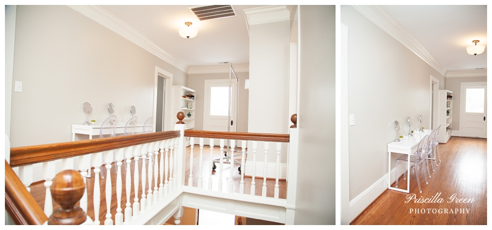 When you walk upstairs to the left is the bathroom and to the right is a place for the bridesmaids to get their make up done!