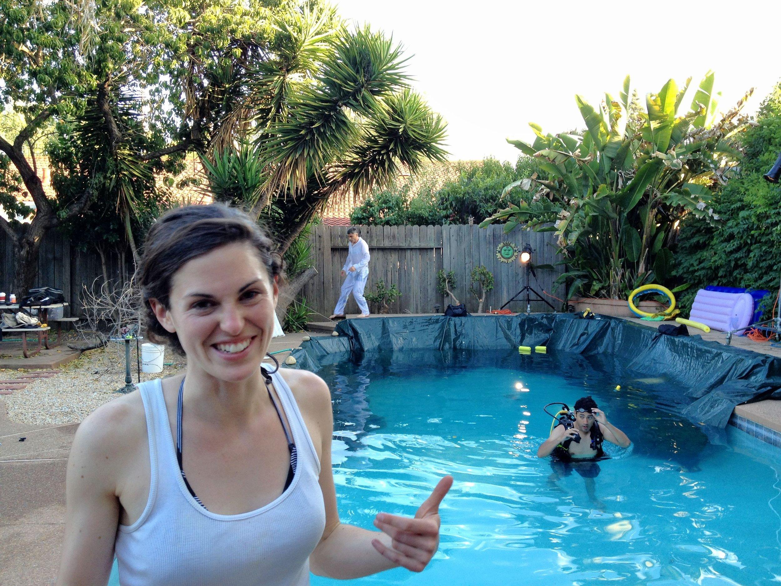 AD Katie McFadden, Director Alex Vargas and underwater Cam Op Julio Menard setting up for a night shoot.