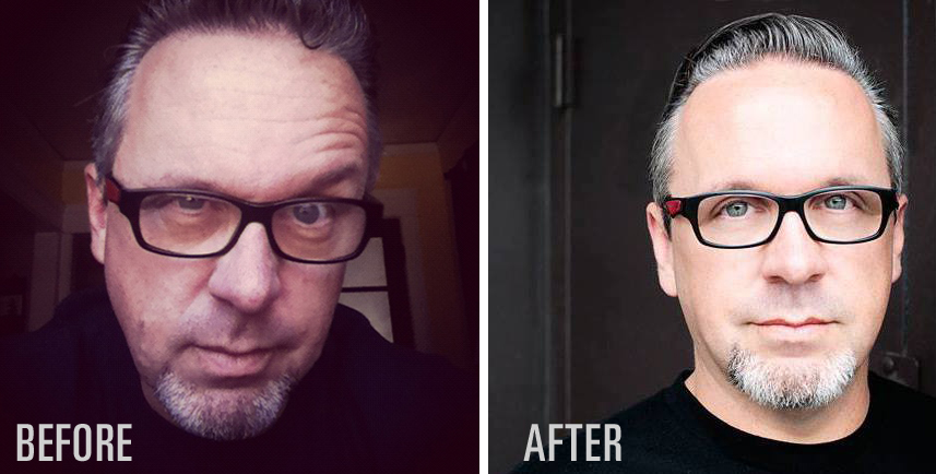 """Dave's amateur """"before"""" and professional """"after"""" headshot."""