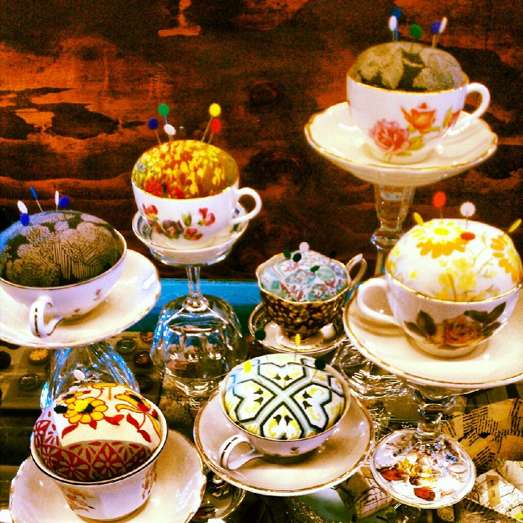 BEFORE: Tea Cup Pincushions