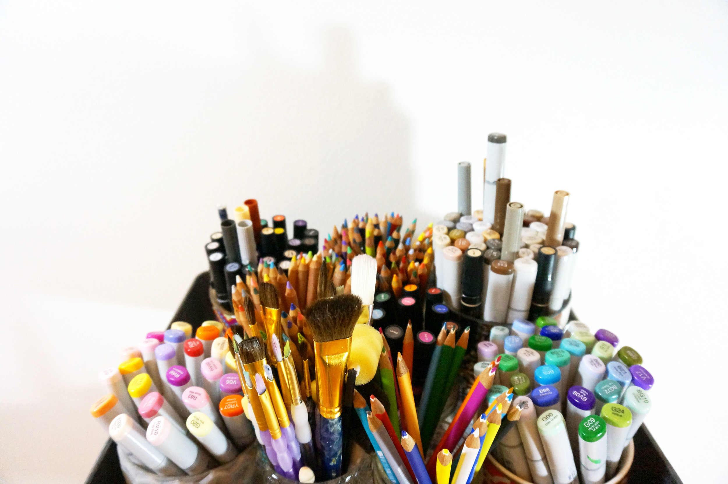 Rendering is something I love to do, so I keep a basket of rendering tools by my drafting table for sketching out product ideas.