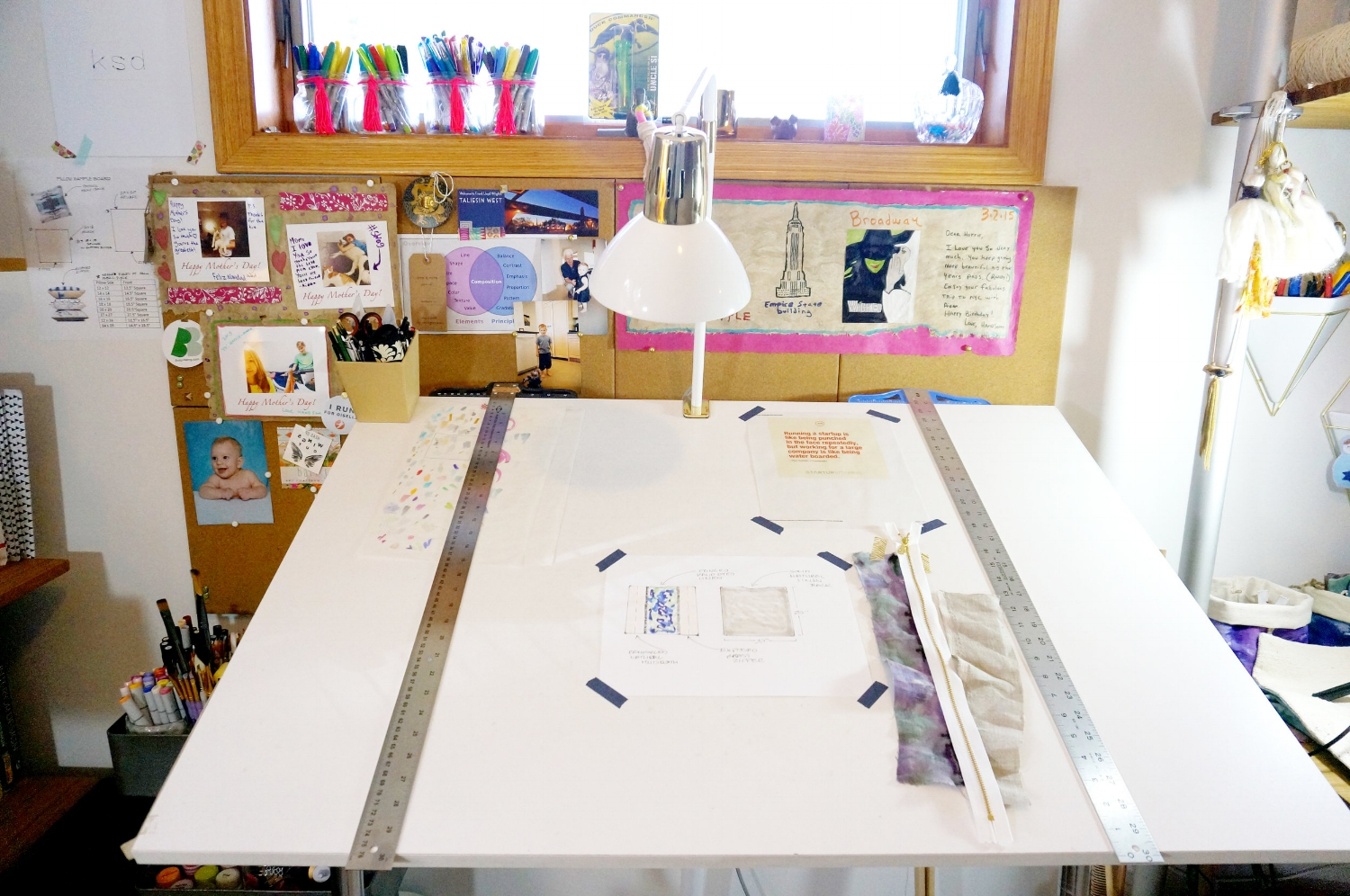 I spend a lot of time at my drafting table for KSDesigns and school. I am constantly taping and tacking up images and sayings that inspire me and make me happy