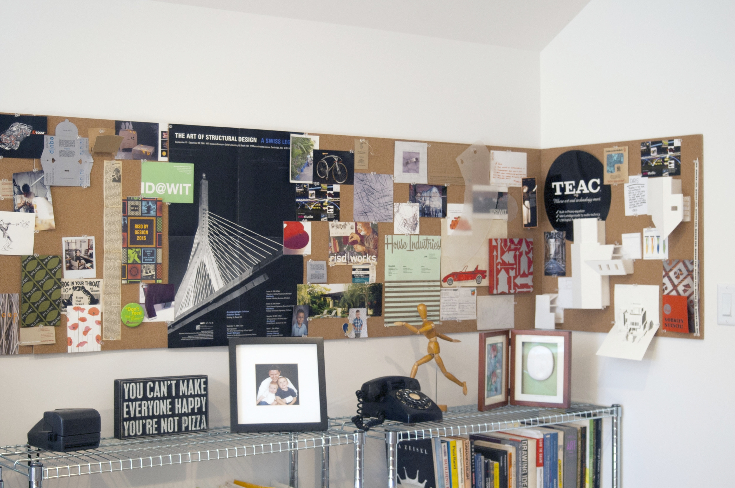 This is our inspiration wall where we keep a few of our favorite things.