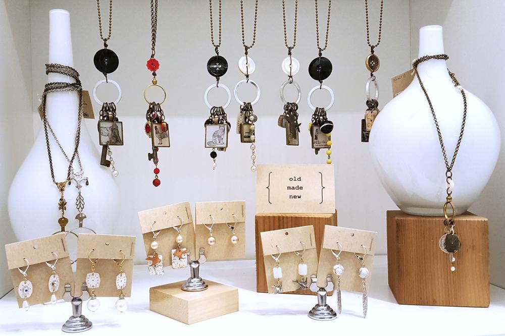 Glass vases display: Christine Stoll Jewelry