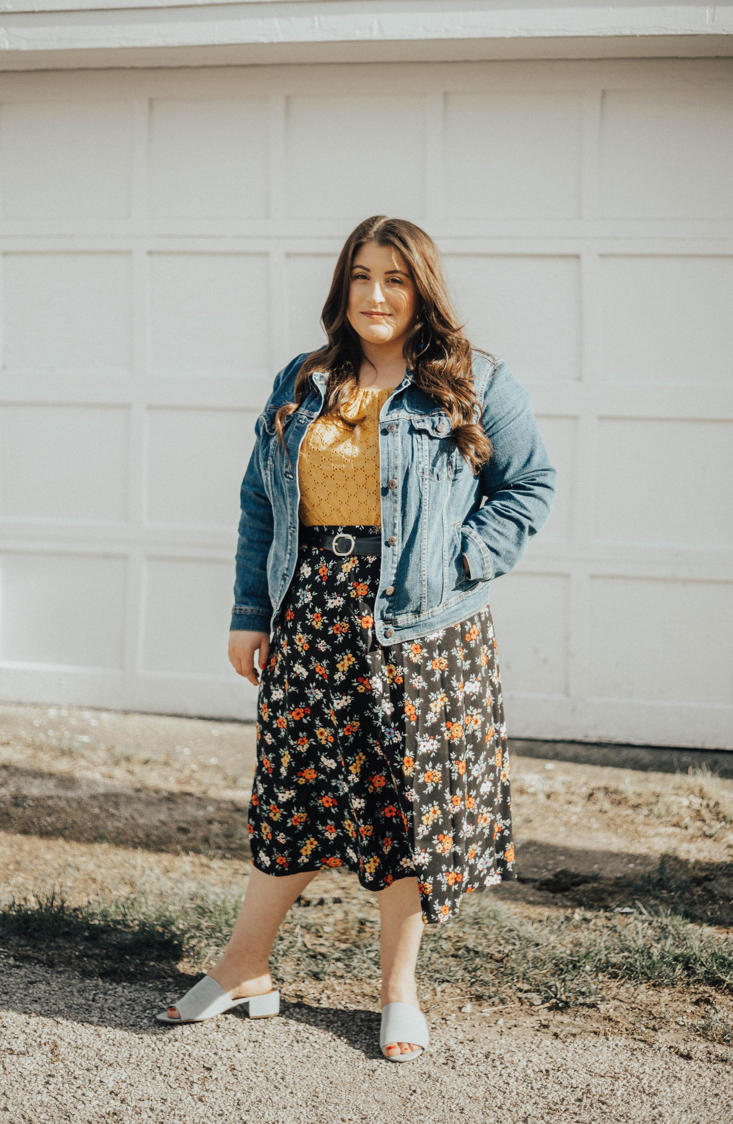 Outfit details: Skirt// Joanie Clothing  Top// Target  Jean Jacket// Old Navy  Earrings// Target  Slides//Old,  Similar