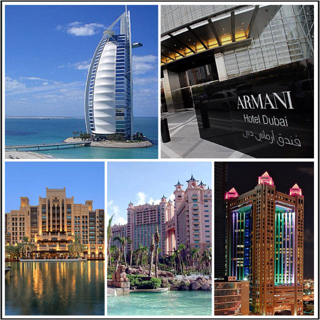 No alto (da esquerda para a direita): Burj Al Arab Royale Hotel Armani; Por fim: Mina A'Salam Hotel; Hotel Atlantis e The Fairmont Dubai - Fotos: Reprodução