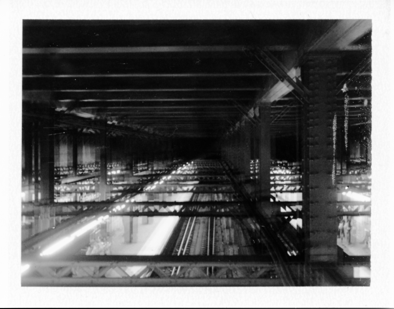 double exposure, inside a subway station