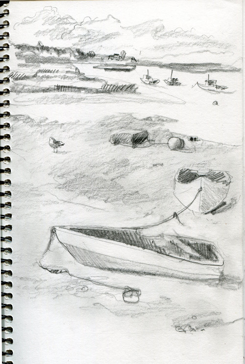 Gull and boats at low tide,Scarborough, ME