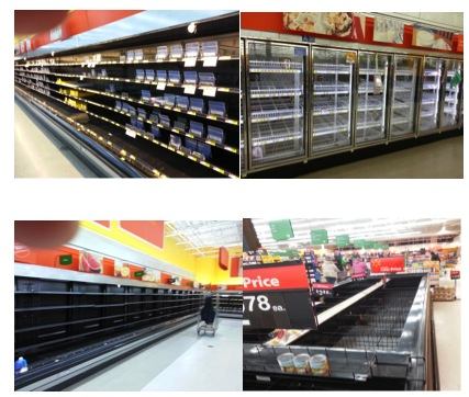 Depleted grocery store after locals clean out bread, milk , eggs, water,lunchmeat, pizzas, etc for before upcoming deep freeze 1/7/2014 northern Indiana