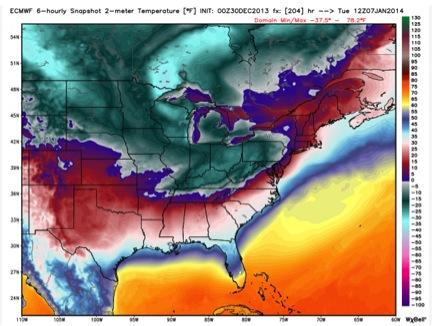 Weather model from December 30 predicting arctic blast.