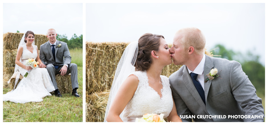 Bride and Groom Portraits on the Farm Hay Bales