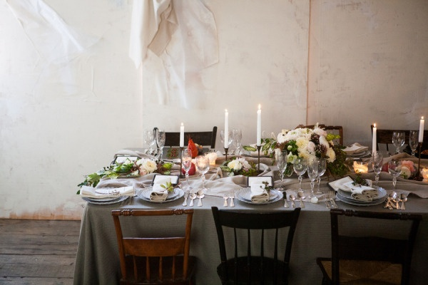 Stunning tablescape! I love the mismatched chairs and lovely haphazard quality of all of this.