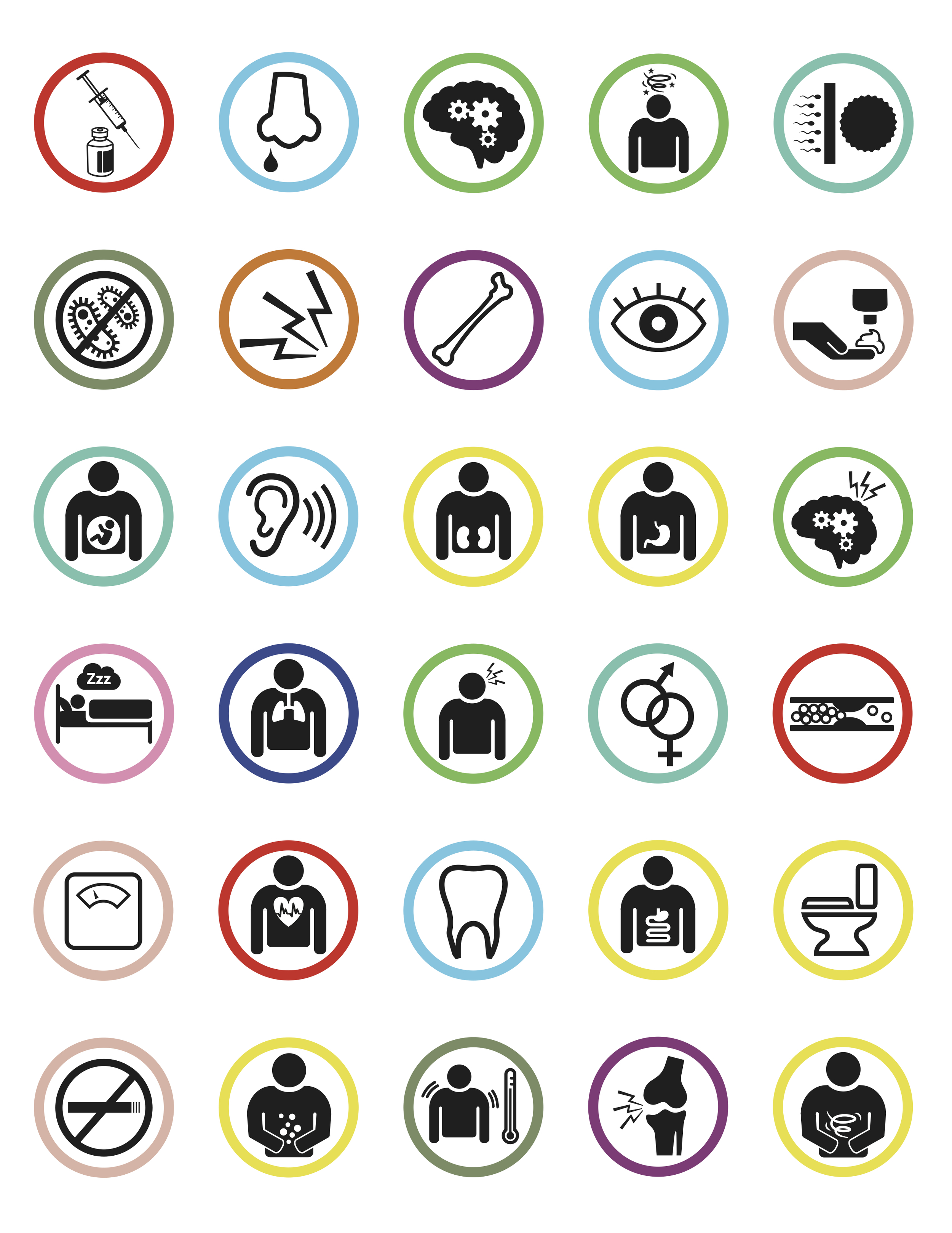 A mixture of color coded icons depicting what different medications are treating.