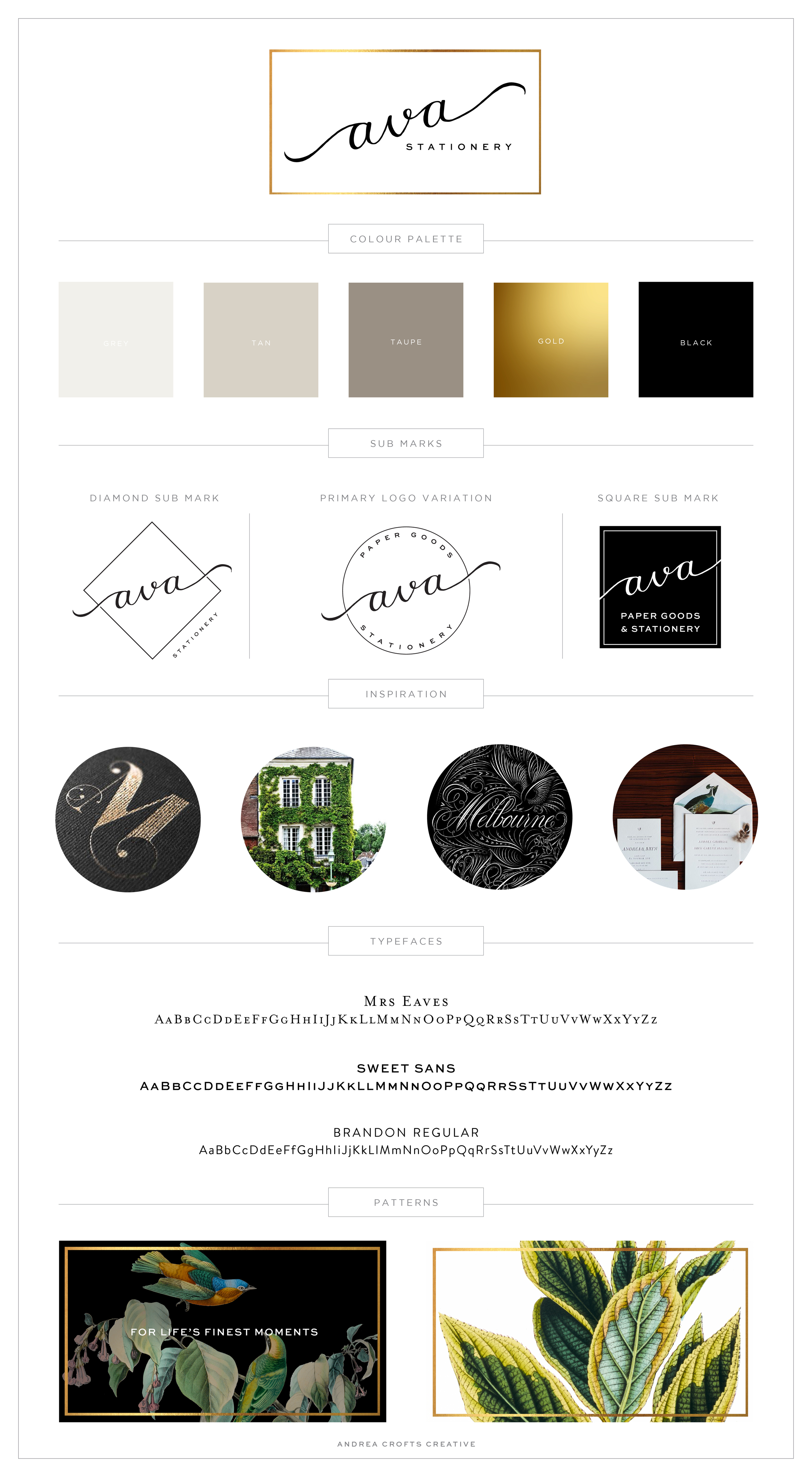Brand Board - Ava Stationery by Andrea Crofts Creative