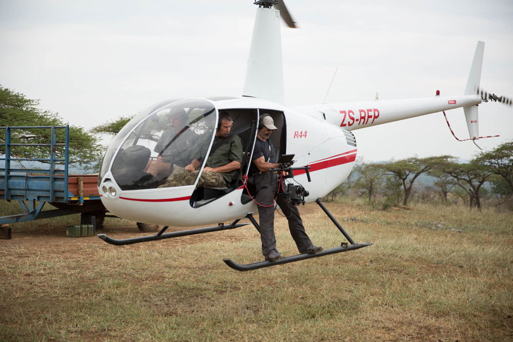 test flight with cameraman Steve Best - practicing for aerial rhino