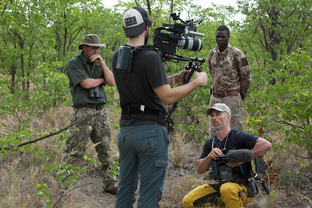 Me Branlin Shockey Steve Best and Big Livi trying to work out how to move among a herd of elephant bulls with all our equipment in thick mopane woodland