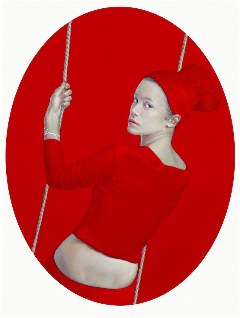 salustiano Presente pluscuamperfecto (Elisa Columpio) 2015, huile, pigments naturels et résine acrylique sur toile, diam. 120 cm.