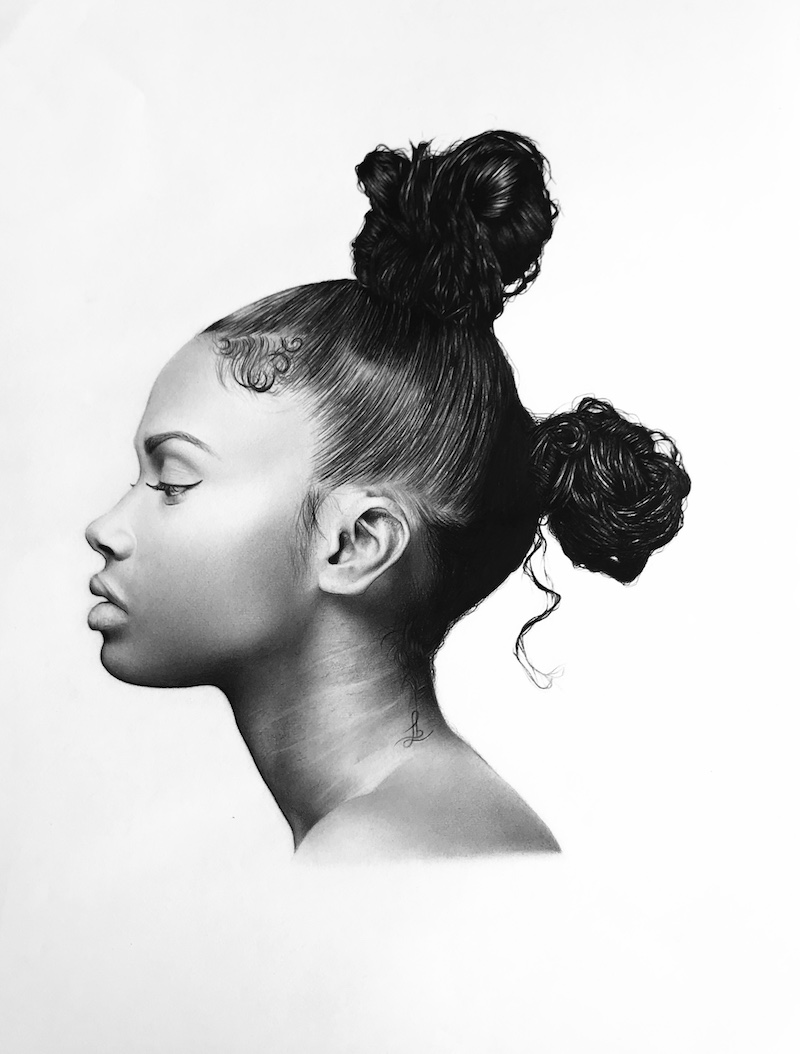 Léa Bourgeois Deux pompons 2018, crayon à papier sur papier, 42 x 59,4 cm.
