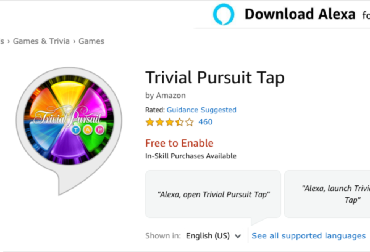 Amazon Echo Show Game - Trivial Pursuit Tap