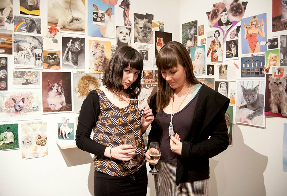 Why I eyes Ya, 2012. Collage installation with Lucy James. Craft Victoria, Melbourne. Copyright Tai Snaith.
