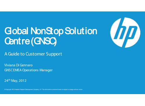 Global NonStop Solution Centre (GNSC) - A Guide to Customer Support