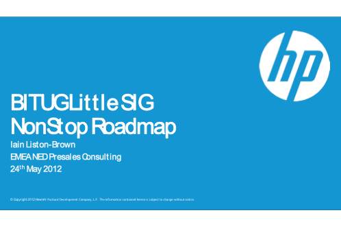 NonStop Roadmap - HP