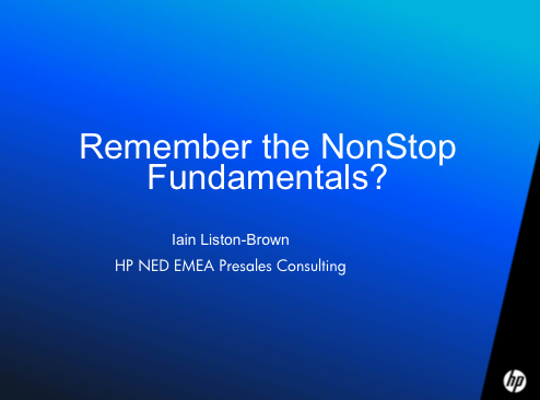 Remember the NonStop Fundamentals? - HP