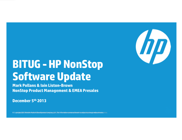 HP NonStop Software Update - Mark Pollans and Iain Liston-Brown