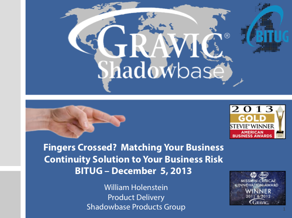 Matching Your BC Solution to Your Business Risk - Gravic Shadowbase - William Holenstein