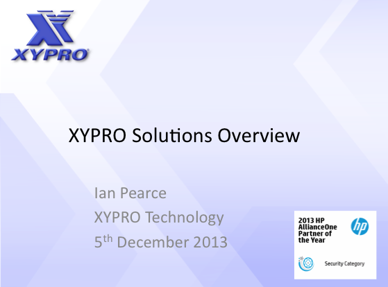 Solution Overview - XYPRO - Ian Pearce