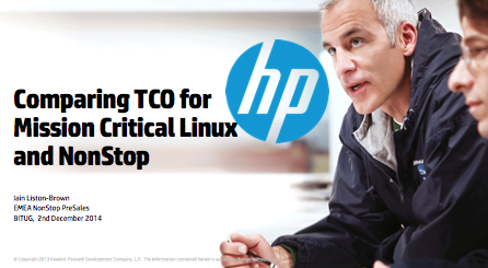 Mission Critical Linux vs NonStop TCO - HP - Iain Liston-Brown