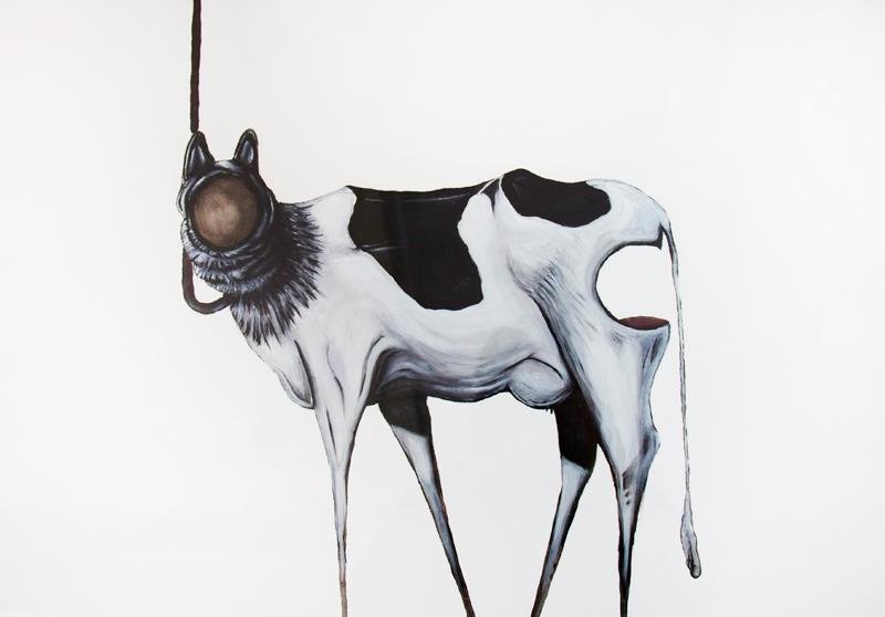 """A Strange Harvest (Cryptozoology)""  Oil on Oil Paper  2011"
