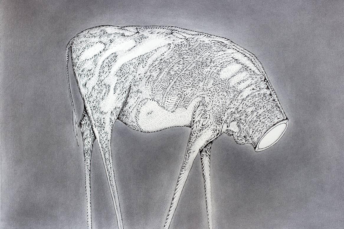 """""""A Strange Harvest (Trophy)""""  Ink and pencil on paper  2011"""