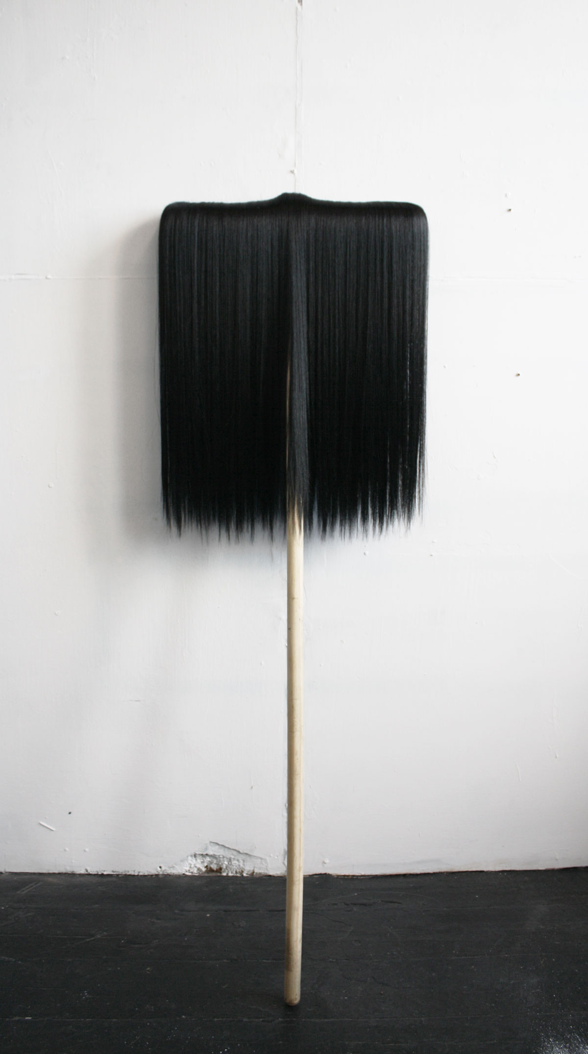Chaetophobia (broom)  46 x 104 cm Wooden Industrial Broom and synthetic hair 2015