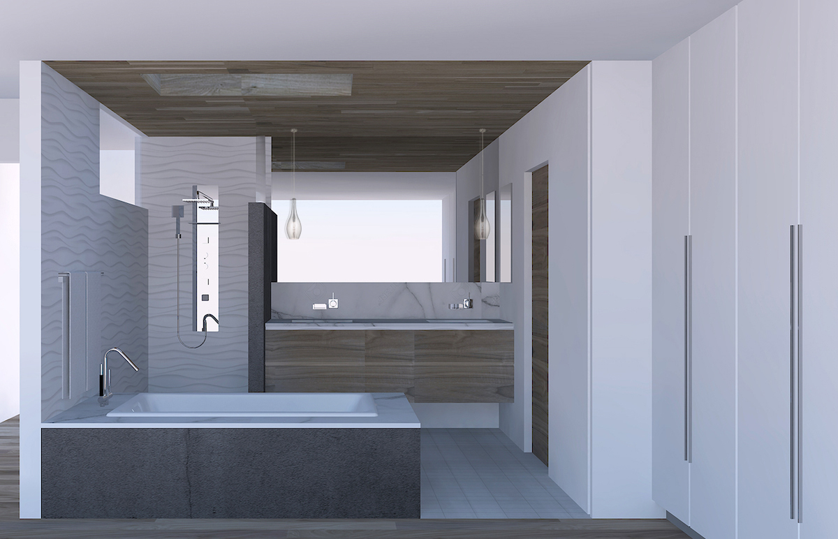 Rendering for the new master bath showing the space without the privacy glass partition at the tub or the custom door