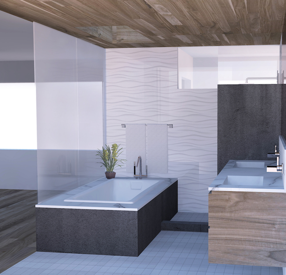 Rendering showing new tongue and groove walnut ceiling and wave tile wall