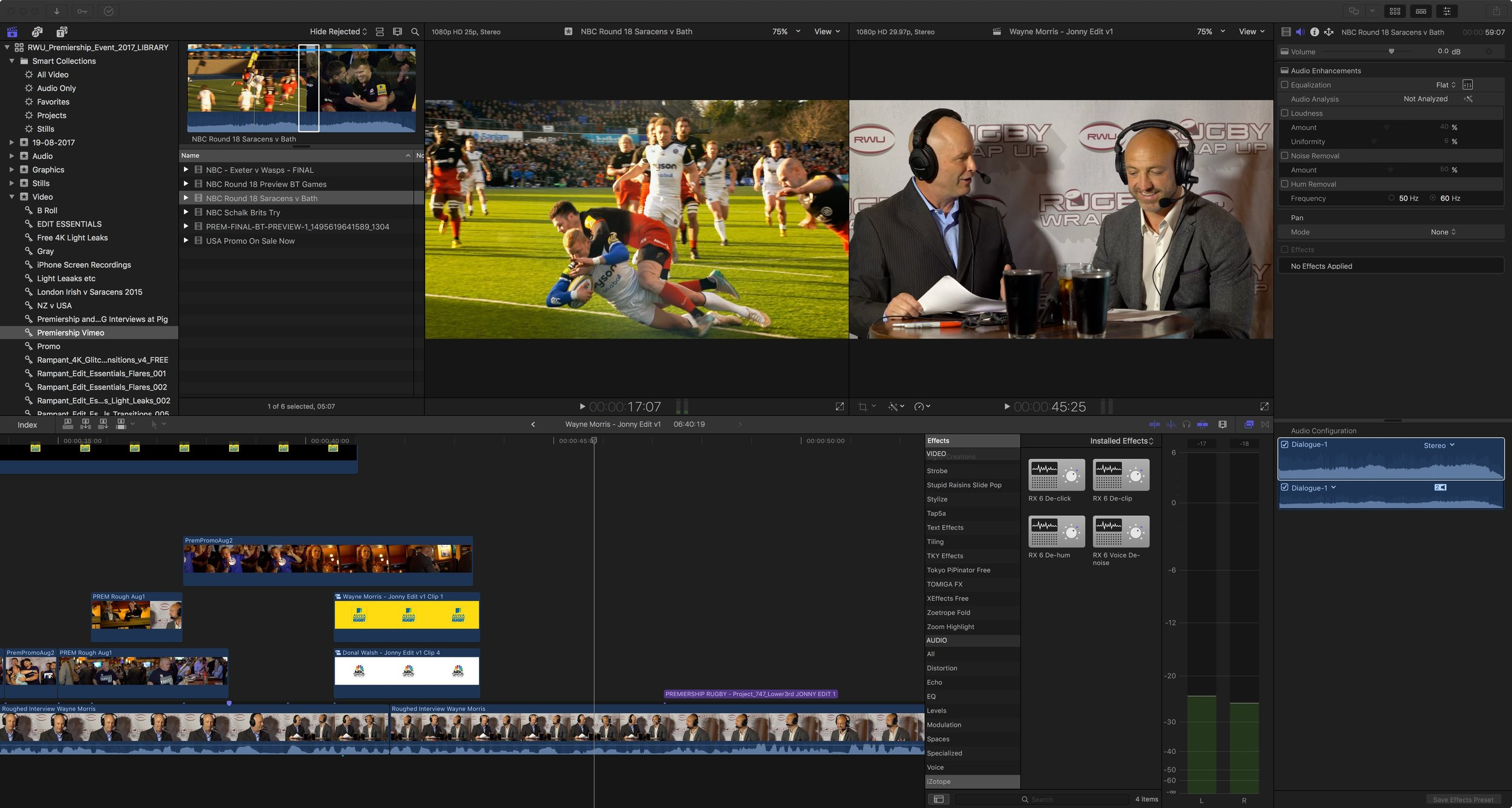 Editing the Rugby Wrap Up shows in Final Cut Pro X