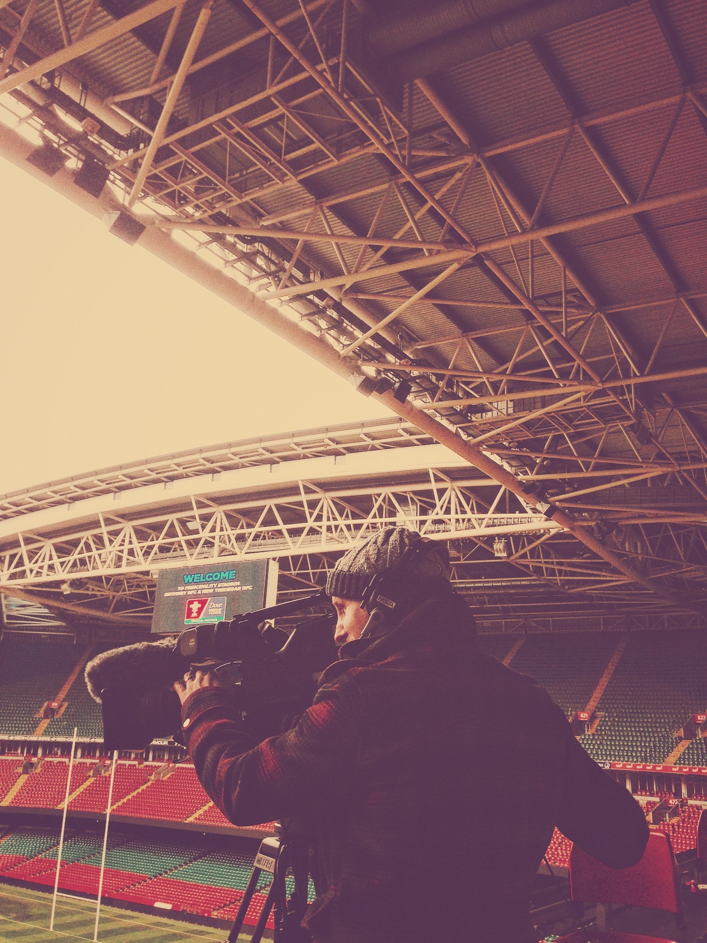 Jonny Lewis filming at Principality Stadium, Wales. -
