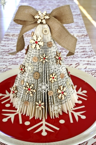 upcycled christmas tree tabletop book long enough